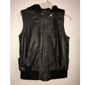 Hooded Faux Leather Bomber Vest